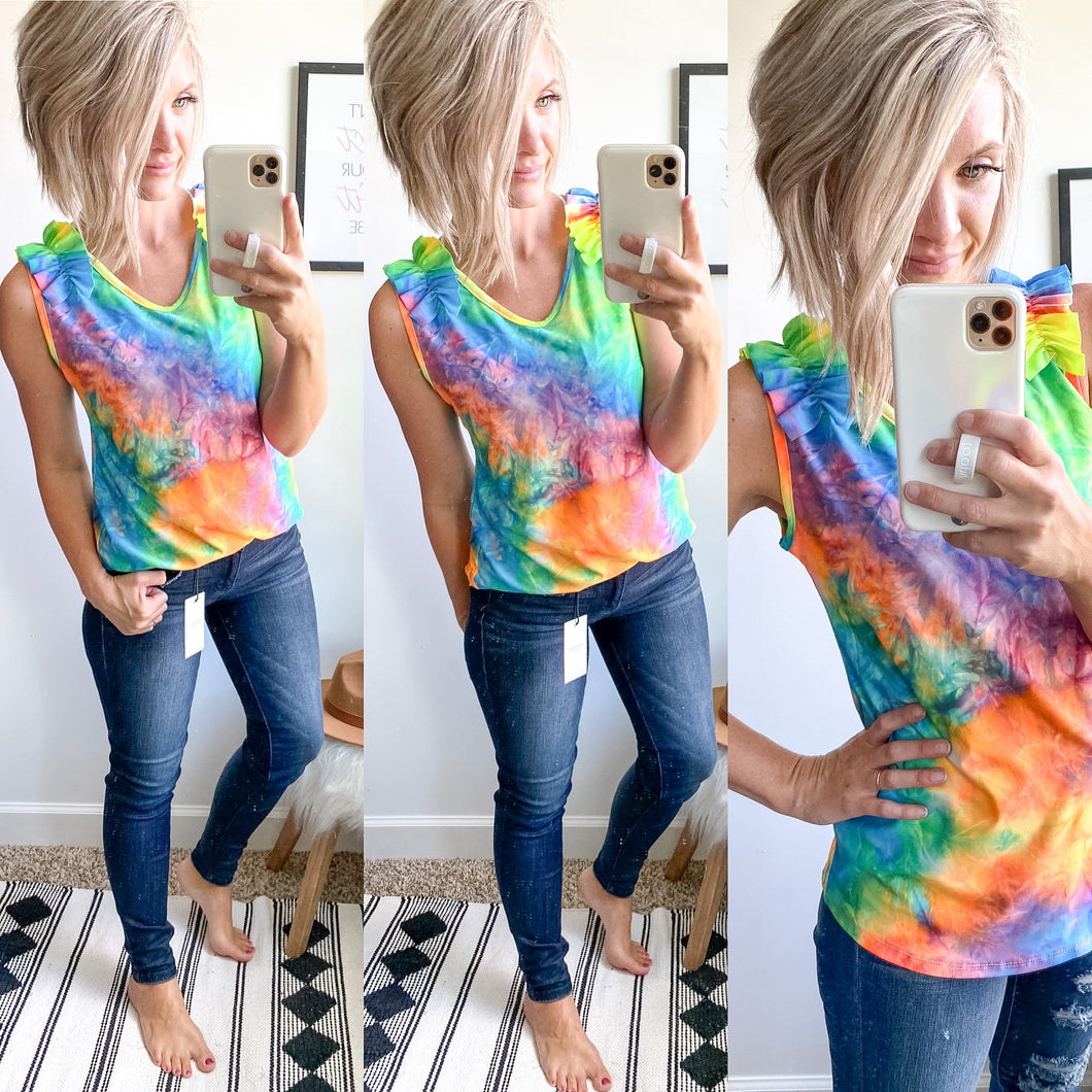 Tie Dye Ruffle Tank - Maple Row Boutique