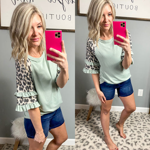 Sage Statement Ruffle Sleeve Top - Maple Row Boutique