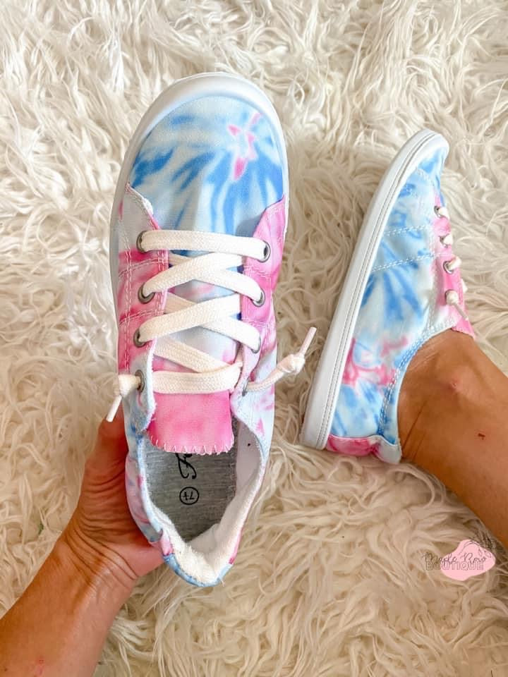 Pink Tie Dye Shoes - Maple Row Boutique