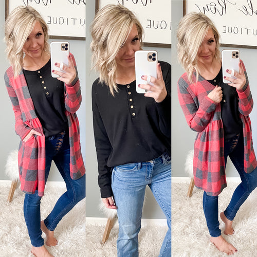 Plaid Ruffle Cardi - Maple Row Boutique
