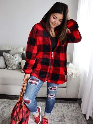 Red Buffalo Plaid Zip Up - Maple Row Boutique