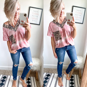 Leopard and Tie Dye Top - Maple Row Boutique