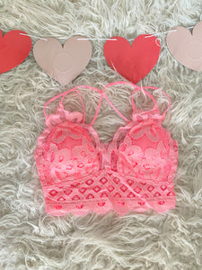 Candy Pink Lace Bralette - Maple Row Boutique