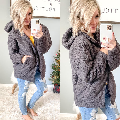 Hooded Teddy Bear Zip Up - Maple Row Boutique