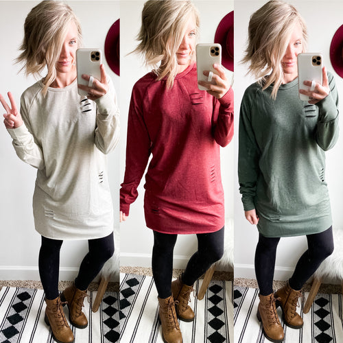 Distressed Sweatshirt Dress/Tunic - Maple Row Boutique
