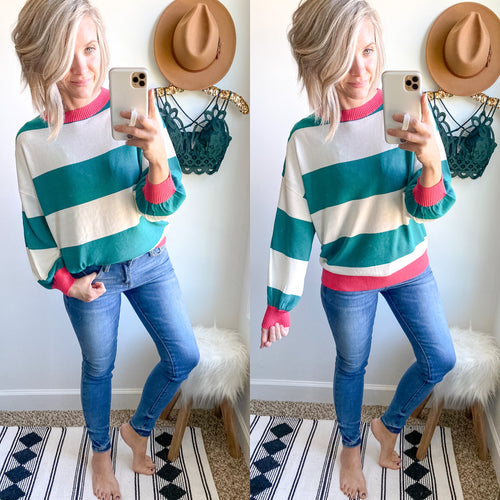 Green and Pink Stripe Sweater - Maple Row Boutique