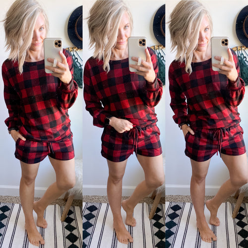 Red Buffalo Plaid Lounge Top - Maple Row Boutique