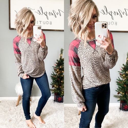 Wild About Buffalo Plaid Top - Maple Row Boutique