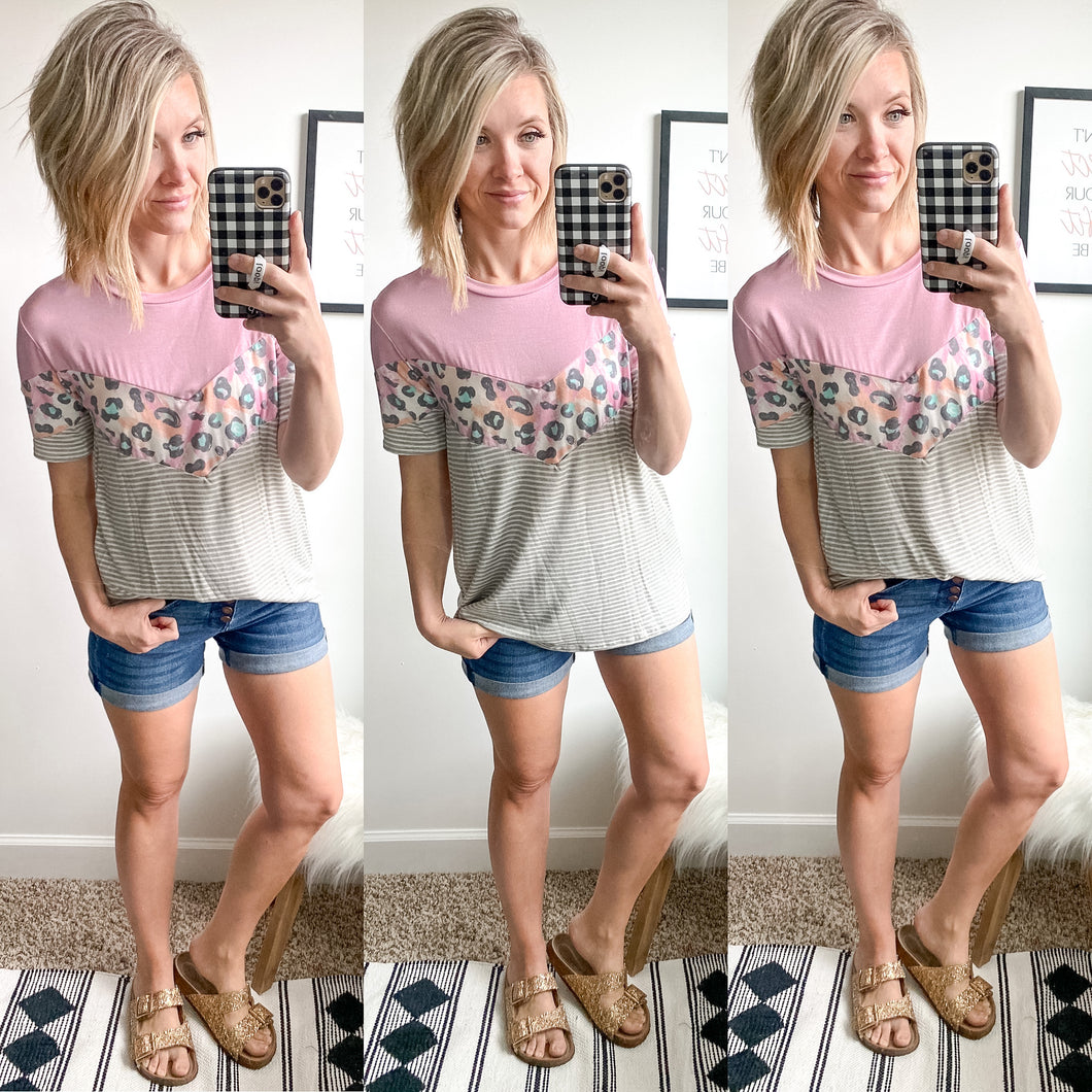 Pink and Stripe Chevron Top - Maple Row Boutique