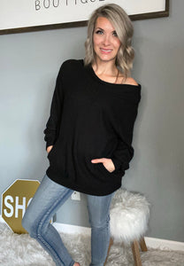 Off the Shoulder Waffle Sweater - Maple Row Boutique