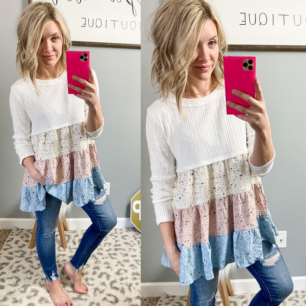 Splatter Paint Tiered Tunic - Maple Row Boutique
