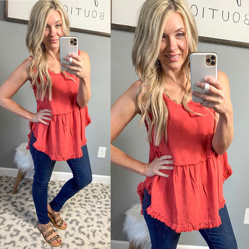 Coral Frayed Callie Tank - Maple Row Boutique