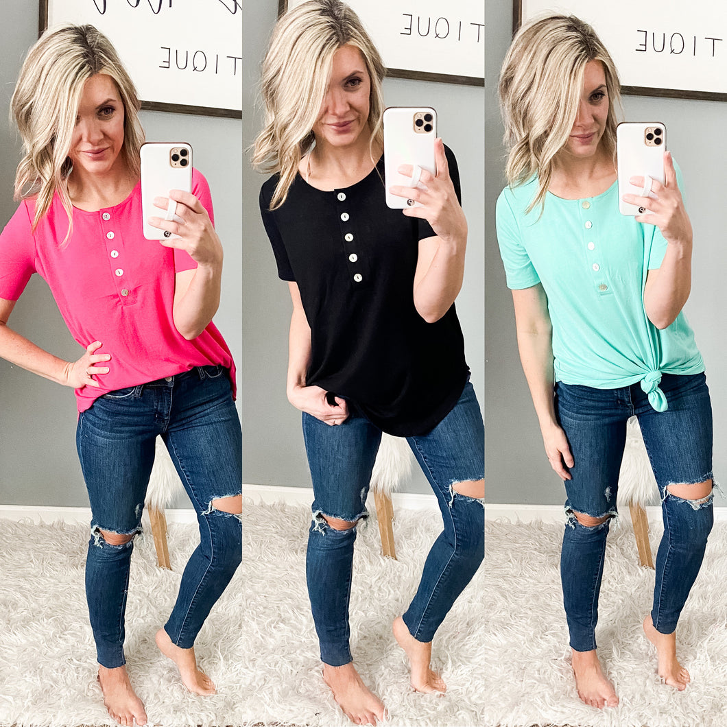 Basic Button Tees - Maple Row Boutique