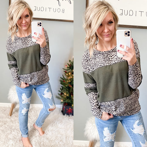 Olive and Cheetah Cozy Top - Maple Row Boutique