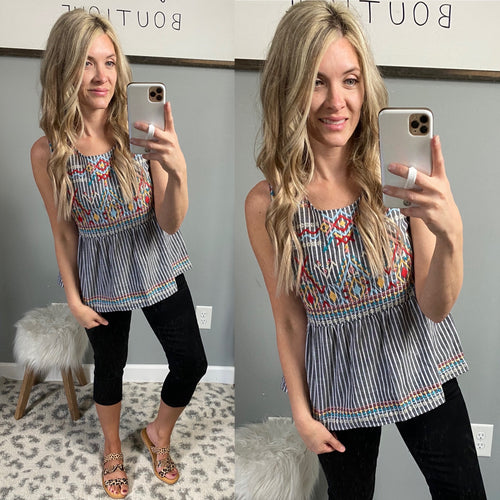 Stripe Babydoll Embroidered Top - Maple Row Boutique