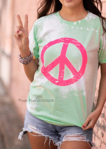 Neon Bleached Peace Tee - Maple Row Boutique