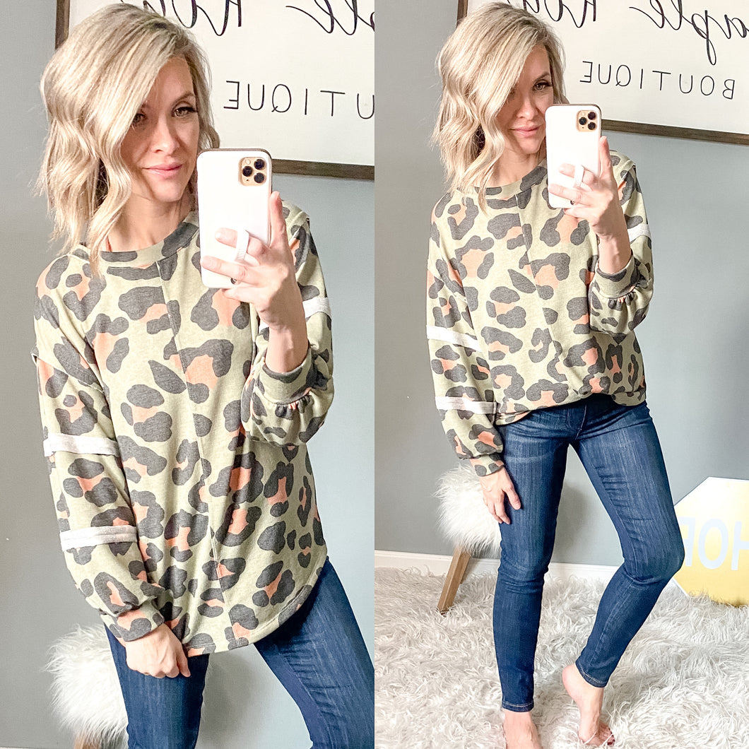 Olive You Leopard Tunic - Maple Row Boutique