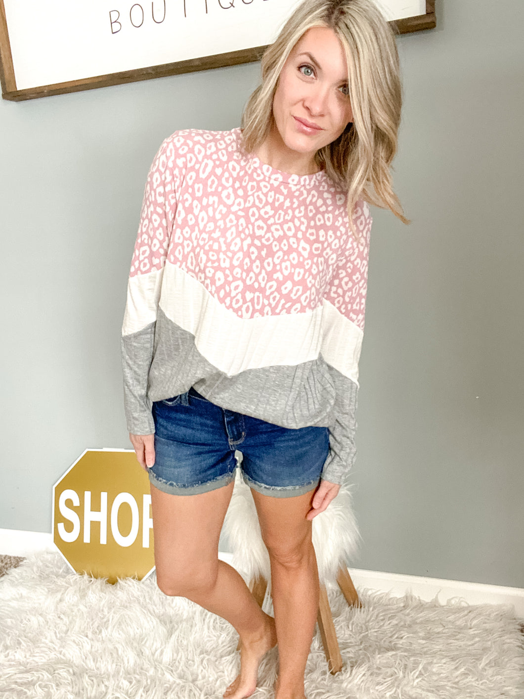 Pink Cheetah Color Block V Top - Maple Row Boutique