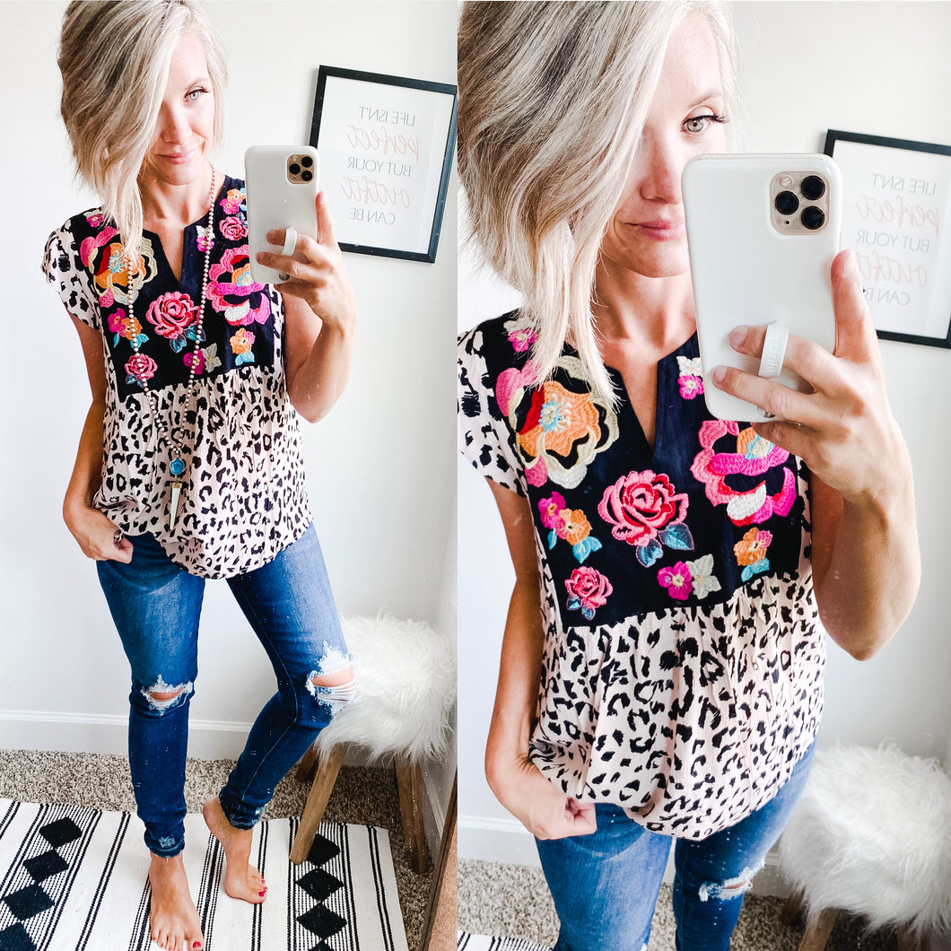 Embroidery and Leopard Top - Maple Row Boutique