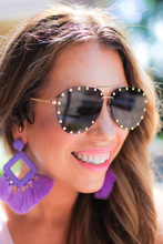 Load image into Gallery viewer, Showstopper Aviator Studded Sunglasses - Maple Row Boutique