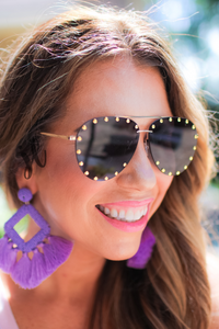 Showstopper Aviator Studded Sunglasses - Maple Row Boutique