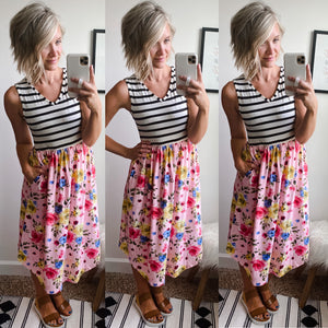Summer Stripe and Floral Tank Dress - Maple Row Boutique