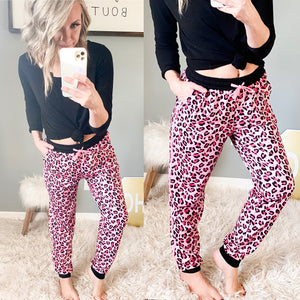 Pink Leopard Joggers - Maple Row Boutique