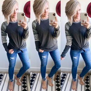 Camo and Stripes Top - Maple Row Boutique