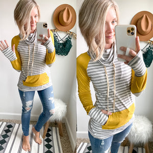 Mustard and Stripe Funnel Neck Pullover - Maple Row Boutique