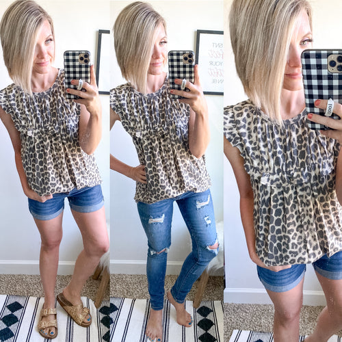 Leopard Ruffle Top - Maple Row Boutique