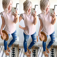 Load image into Gallery viewer, Leopard and Mauve Stripe Top - Maple Row Boutique
