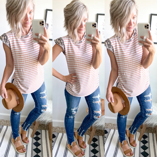 Leopard and Mauve Stripe Top - Maple Row Boutique