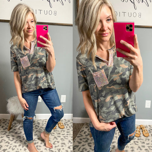 Rose Gold and Camo Mia Top - Maple Row Boutique