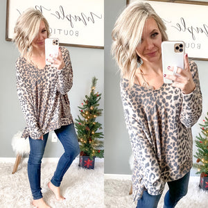 Fuzzy Leopard Tunic - Maple Row Boutique