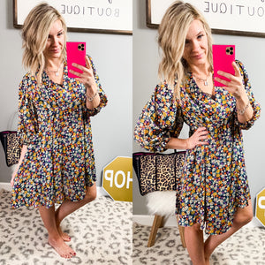 Dainty Navy Floral Dress - Maple Row Boutique