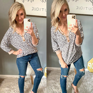 Grey Cheetah Cheetah Top - Maple Row Boutique