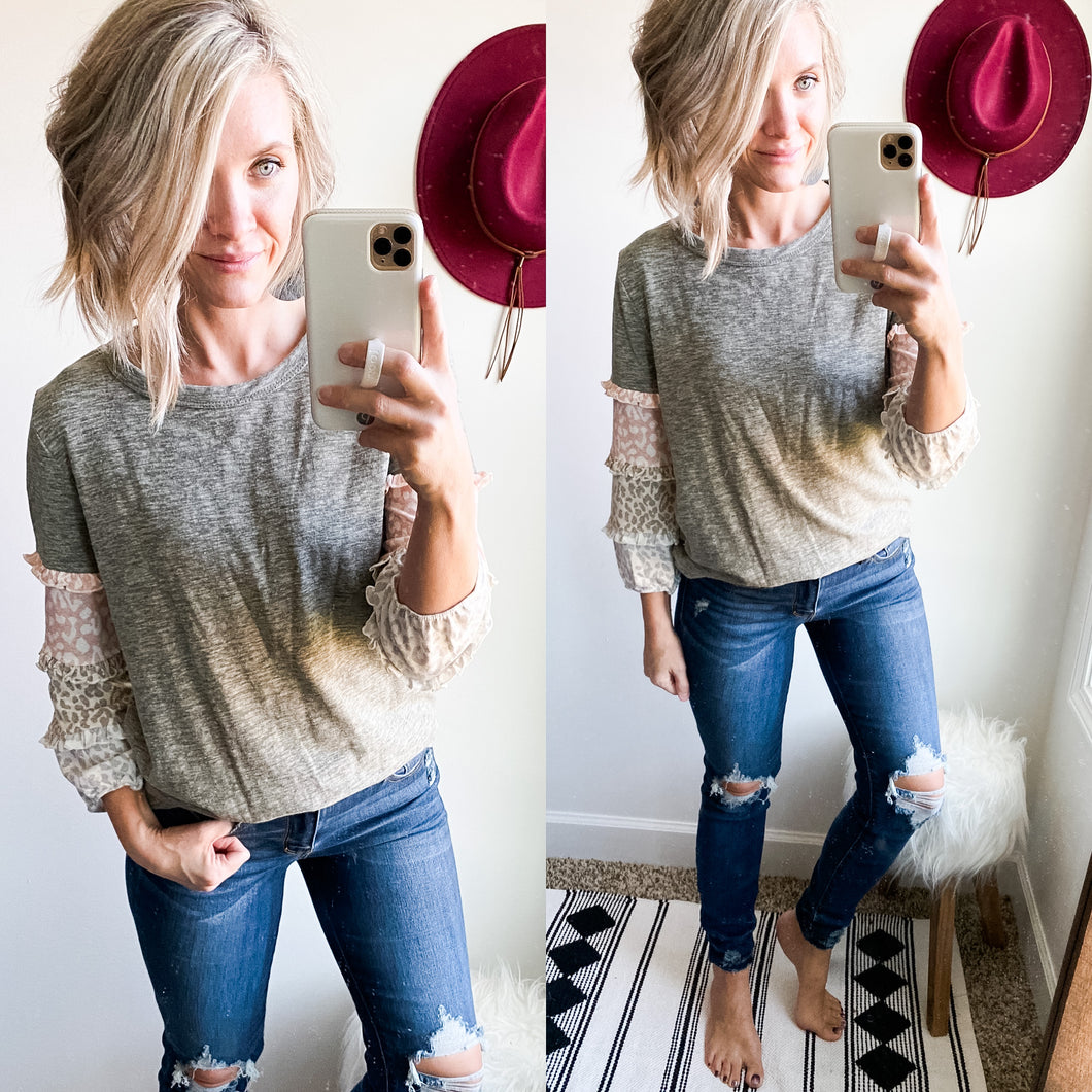Grey Leopard Ruffle Sleeve Top - Maple Row Boutique
