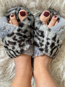 Grey Leopard CrissCross Slippers - Maple Row Boutique