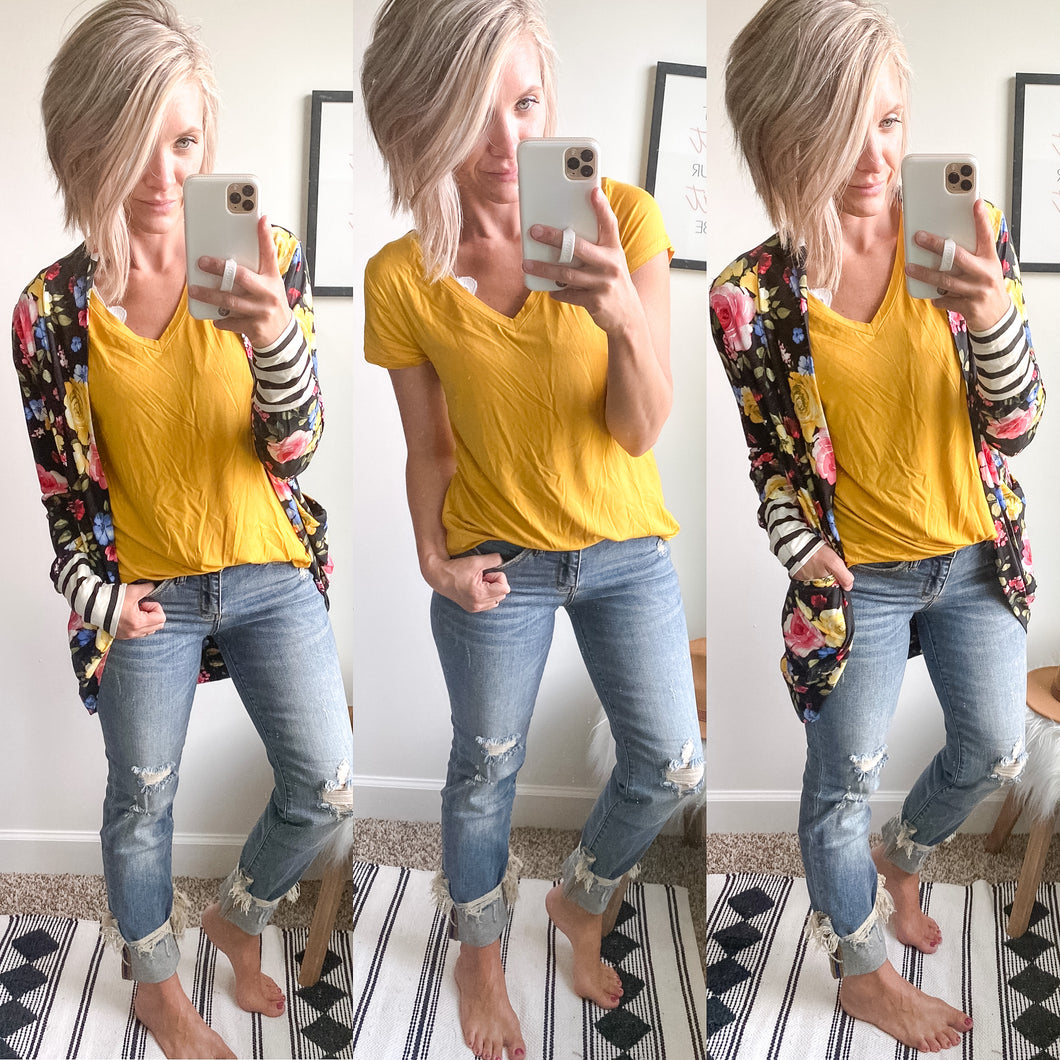 Mustard Perfect Tee - Maple Row Boutique