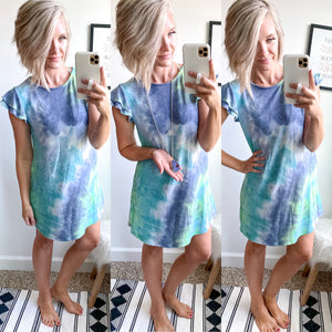 Blue Tie Dye Ruffle Sleeve Dress - Maple Row Boutique