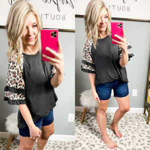 Charcoal Leopard Statement Ruffle Sleeve Top - Maple Row Boutique