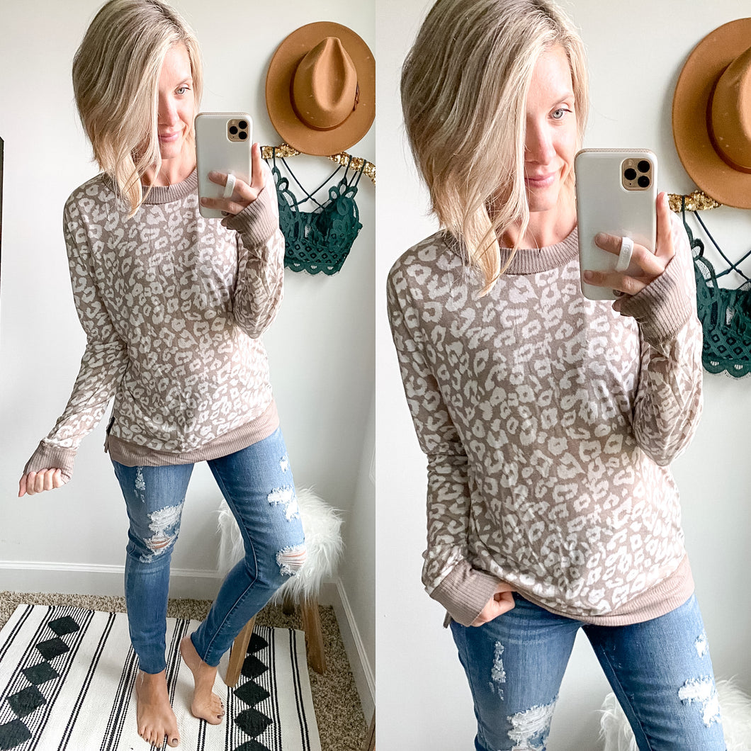 Taupe Leopard Top - Maple Row Boutique