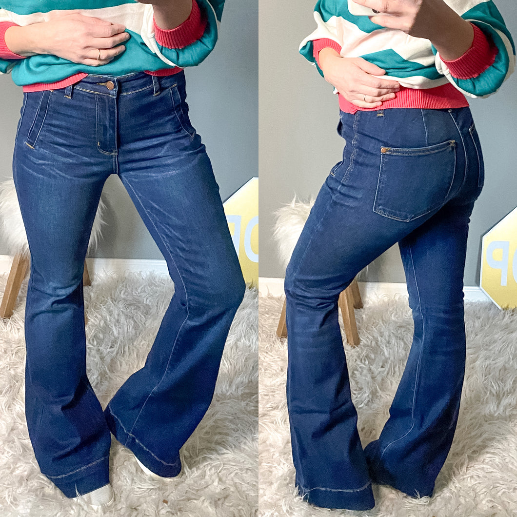 Judy Blue Trouser Flared Jeans - Maple Row Boutique