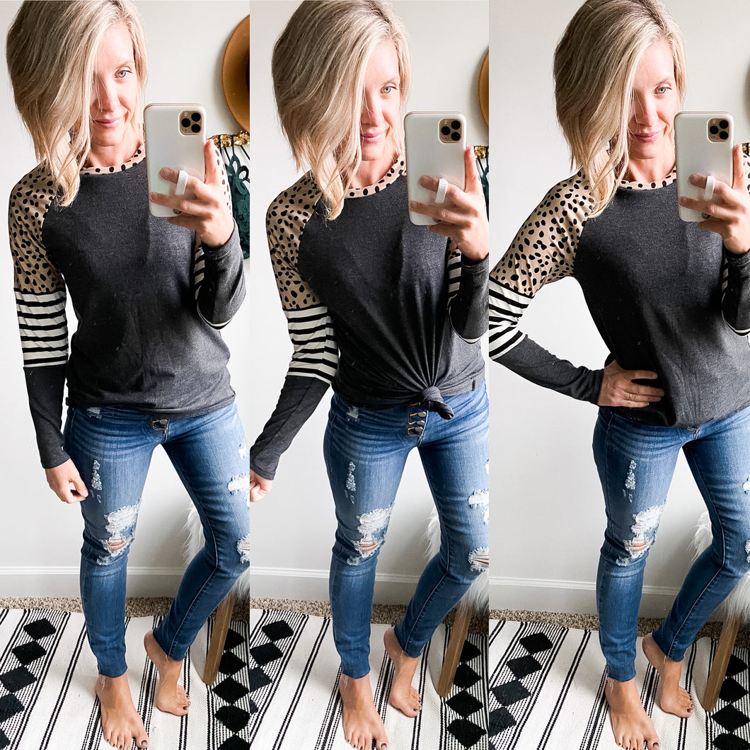 Dots and Stripes Top - Maple Row Boutique