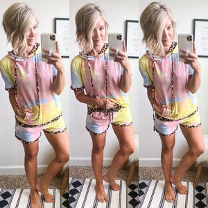 Tie Dye and Leopard Lounge Set - Maple Row Boutique