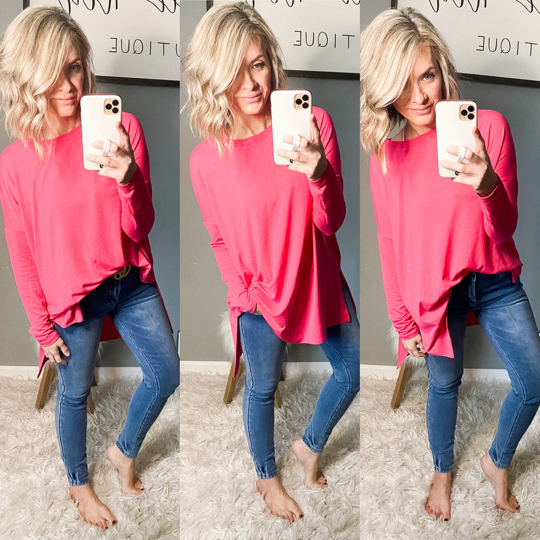 Hot Pink Oversized Tunic - Maple Row Boutique