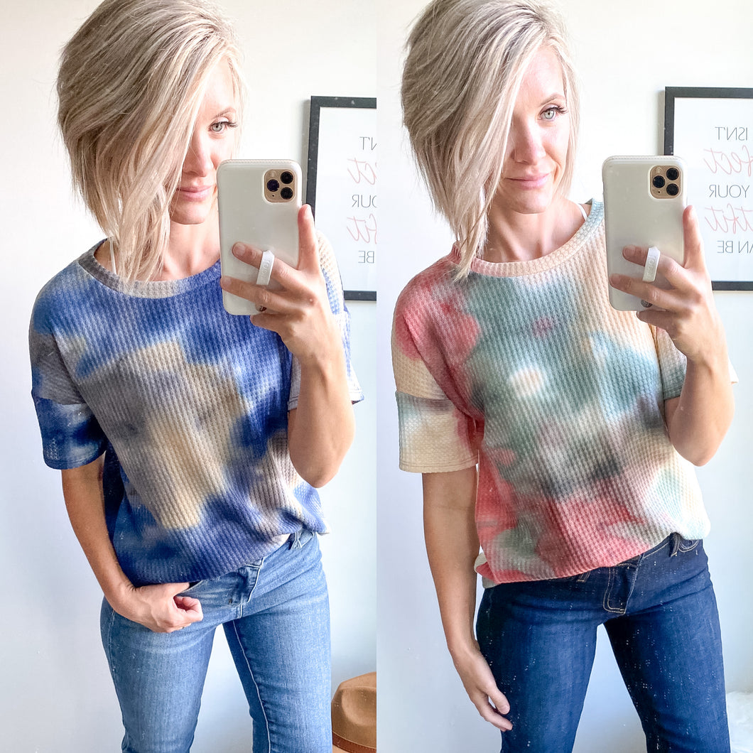 Tie Dye Waffle Tunic - Maple Row Boutique