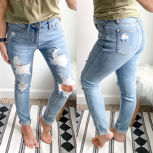 Judy Blue 8814 Super Distressed Skinny Jean - Maple Row Boutique