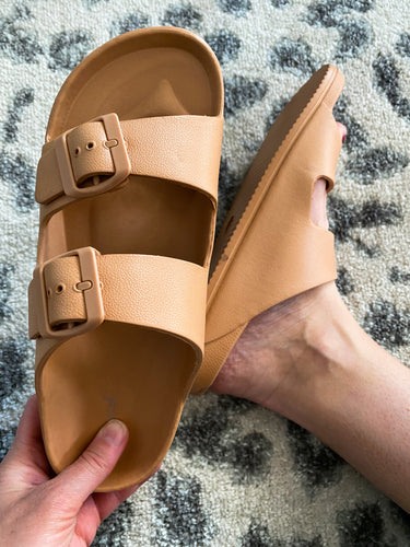 Tan Rubber Sandals - Maple Row Boutique