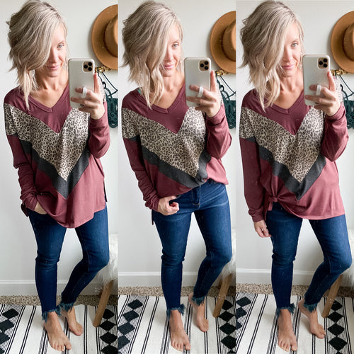Maroon Leopard V Tunic - Maple Row Boutique